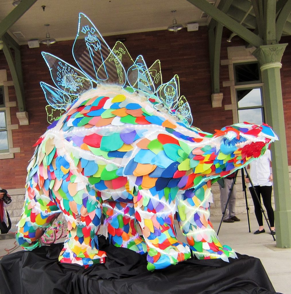 Stella the Stegosaurus, created by students in our Teen Open Studio program